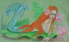 """SEA SIREN, RESTING"" -- 12x20, colored pencil on tinted paper.  Even gorgeous, elusive mermaids need a little ""me"" time!  This redheaded beauty found a watery glade with a comfortable lily pad on which to ponder life, love, and the universe.  Art created by Jayne ""Najah"" Somogy ('SOMOGYI"") ©"