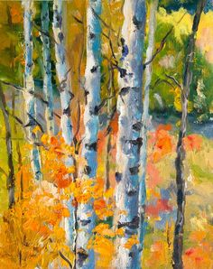 Kit Hevron Mahoney Fine Art: KM2696 Golden Glow (fall, autumn, trees, Aspen, Colorado, landscape)