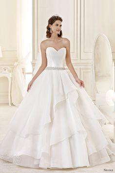 nicole spose bridal 2015 style 32 niab15098iv strapless sweetheart tiered ballgown wedding dress