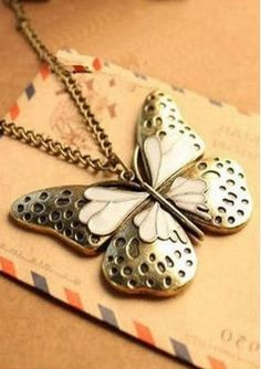 Butterfly Pendant Sweater Chain Necklace