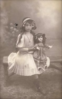 Original 1910 Antique French Belle Époque RARE Real Photo Postcard RPPC from Grenoble… Mysterious Young Girl Studio Portrait with Fancy Doll.  Saved from Etsy
