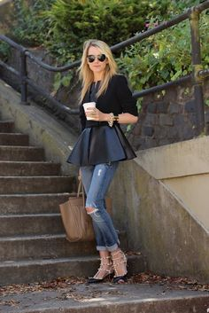 Obsessed with this leather peplum look via Atlantic-Pacific