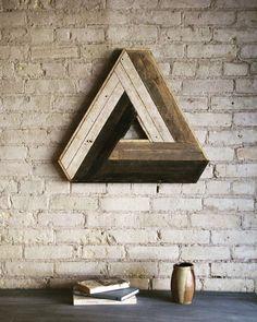 Reclaimed Wood Wall Art, Decor, Lath, Penrose Triangle, Geometric Pattern…