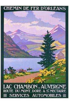 Lac Chambon route du Mont Dore Saint Nectaire affiche ancienne G90127
