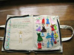Felt doll quiet book. I'm going to make my own version of this. A big quiet book w/ princess paper dolls and mess free wonder kit, a baby sister one w/ a bottles, little blanky clothes diapers all in a carry tote called chars quiet book, gifted for the hospital at delivery of her little sister. Find other ideas to put in it! Pin to quiet book on planning board.