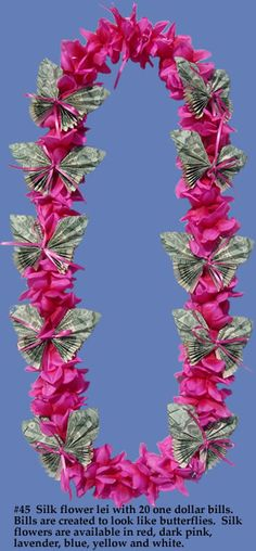 Silk Flower & Butterfly  Money Lei