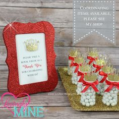 4 X 6 Frame Glitter Red Favor Table Sign   Glitter Gold Prince Baby Shower,
