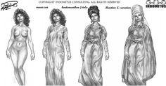 Zoe sketch: Studie Naken till full Byzantinsk ustyrsel - byzantine clothes