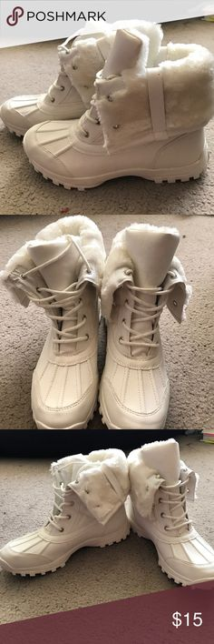 **RESERVED NWOT White Madden Girl Faux Fur Boots Cute, never-worn Madden Girl faux fur boots. Size: 8.5 in women's. Madden Girl Shoes