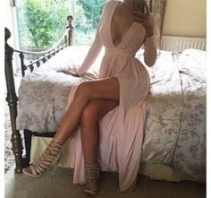 dress pink slit heels boobs maxi dress with slits long dress long sleeves long sleeve dress maxi dress nude