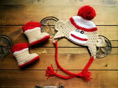 Crochet  Sock Monkey Hat and Baby Boots by MadebyMTL on Etsy, $40.00