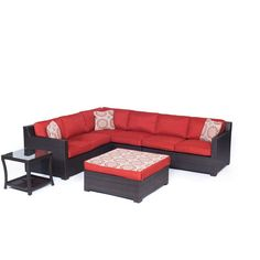 Hanover Metropolitan 6-Piece All-Weather Wicker Patio Deep Seating Set with Autumn Berry Cushions