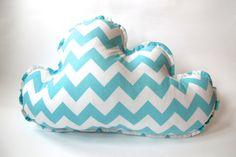 Cloud Pillow - Nursery Decor - Aqua and White Chevron - Medium Chevron By Riley Blake