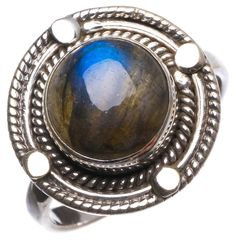 StarGems(tm) Natural Top Quality Blue Fire Labradorite Handmade Mexican 925 Sterling Silver Ring, UK size P 1/2 * Check out this great article. #Rings
