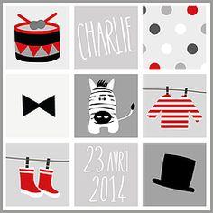 Affiche prénom bébé personnalisée Charlie