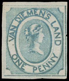 Tasmania 1853 Couriers Early Impressions on Medium Soft Yellowish Paper 1d blue SG 2, good even margins with complete outer framelines, small nick at right, unused, Cat £12,000. RPSofV Certificate (2016). (Estimate 4000 A$) Rare Stamps, Vintage Stamps, Tasmania, Van Diemen's Land, Queen Vic, Postage Stamp Collection, Island Nations, Picture Postcards, Stamp Collecting
