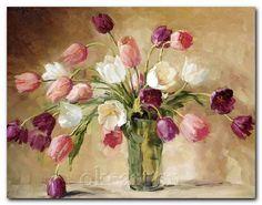 Floral Art Various Oil Painting App, Tulip Painting, Oil Painting Flowers, Oil Painting On Canvas, Oil Paintings, Painting Classes, Art Floral, Still Life Flowers, Kunst Poster