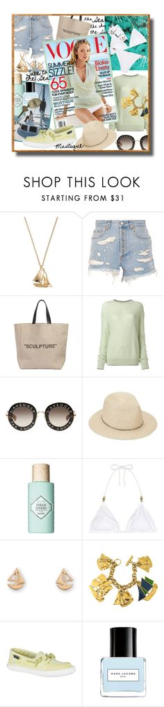 """Mustique Must-Haves"" by funnfiber ❤ liked on Polyvore featuring Alex Monroe, Gucci, Off-White, Christopher Kane, Eugenia Kim, Benefit, Heidi Klein, Yves Saint Laurent, Sperry and Marc Jacobs"