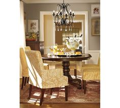 Dining Room with beautiful yellow chairs....