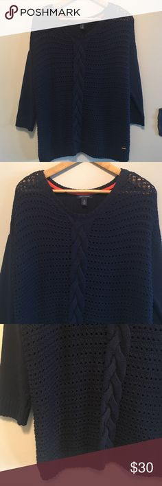 """Tommy Hilfiger XL navy blue cotton sweater Look great and have fun in this casual yet trendy Tommy Hilfiger navy blue longsleeved cotton blend crocheted sweater featuring 3/4 length sleeves with a beautiful cable down the front in a size XL. Dimensions taken while garment is laying flat: 46"""" bust, 44"""" waist, 46""""hips, sleeve length 14"""", and length from shoulder to bottom hem 26"""". Tommy Hilfiger Sweaters Crew & Scoop Necks"""