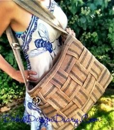 A darling jute strap tote bag made with sealah no sew tape!
