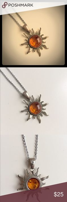 Amber and Sterling Silver Sun Necklace EUC. Handmade piece bought from a vendor in an outdoor market in Italy. Sterling silver and amber with 925 printed on back of pendant. Price negotiable through the Offer button. Offers on bundles considered. No trades. Jewelry Necklaces