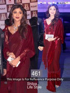 Bollywood Special : Bollywood Replica-Shilpa Shetty Designer New Maroon GorgeousParty Wear Bollywood Designer Sarees, Indian Designer Sarees, Latest Designer Sarees, Ethnic Wear Designer, Bollywood Saree, Bollywood Fashion, Indian Sarees, Silk Sarees, Pakistani