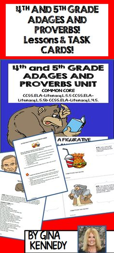"This is a complete unit for teaching the figurative language concept of ""adages & proverbs"" in 4th and 5th grade. Included is an introduction lesson with guided activities, writing projects, example lists; and twenty differentiated project task cards. Each activity and creative writing opportunity will provide an authentic and fun way for your students to show their understanding of adages and proverbs.$"