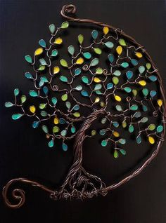 Diy jewelry tree dream catchers 65 Ideas for 2019 Wire Crafts, Bead Crafts, Wire Wrapped Jewelry, Wire Jewelry, Copper Wire Art, Nail Polish Crafts, Wire Tree Sculpture, Wire Trees, Tree Wall Art