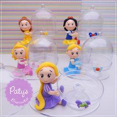 Cúpulas Decoradas Princesas Disney (Bela, Aurora, Cinderela, Rapunzel e Branca de Neve) - Paty's Biscuit