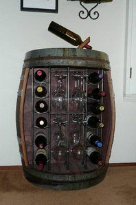 This one-of-a-kind wine rack, made out of a half wine barrel, is the perfect addition to any kitchen, dining or bar area. Wine Cask, Wine Cellars, Barrel Projects, California Wine, Piece A Vivre, Bar Areas, Wine Storage, Wine Country, Diy Woodworking