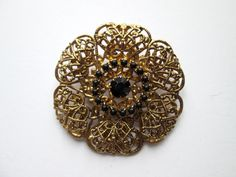 Vintage Brooch Pin Pressed Brass Filigree Flower Three Layer Onyx Jet Black Rhinestone Claw Set Faceted Cabochon Gold Tone Art Nouveau Style by eKatJewels on Etsy