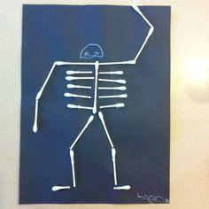 Preschool Halloween craft... Q-tip skeleton
