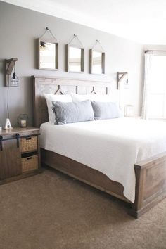 Most Beautiful Rustic Bedroom Design Ideas. You couldn't decide which one to choose between rustic bedroom designs? Are you looking for a stylish rustic bedroom design. We have put together the best rustic bedroom designs for you. Find your dream bedroom. Modern Farmhouse Bedroom, Farmhouse Master Bedroom, Farmhouse Style, Rustic Farmhouse, Bedroom Rustic, Modern Rustic Bedrooms, Farmhouse Bedroom Furniture, Master Bedroom Furniture Ideas, Rustic Wood Bed