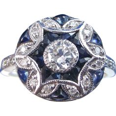 Elegant Sapphire & Diamond Vintage Ring 14K found at www.rubylane.com @rubylanecom