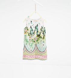 Image 1 of Leaf print dress from Zara