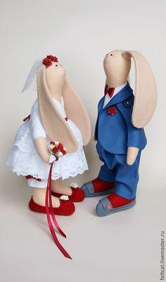 Подарки на свадьбу ручной работы. Ярмарка Мастеров - ручная работа. Купить Зайцы свадебные синий/красный подарок на свадьбу. Handmade. Свадьба