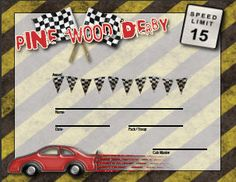 Pinewood Derby Certificate and pit pass with place for boys photo. - free download