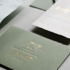 Invitations - gold and green but still simple to accompany our theme -- we would rather spend our budget on good food and drinks anyway! Green Wedding Invitations, Wedding Envelopes, Gold Invitations, Gold Envelopes, Wedding Stationary, Wedding Cards, Wedding Themes, Olive Green Weddings, Olive Wedding