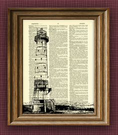 LIGHTHOUSE awesome upcycled vintage dictionary page book art print Buy 3 Get 1 Free. $7.99, via Etsy.