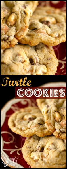 The chocolate chips, pecans, and caramel bits are a winning combination in these Turtle Cookies! Eat warm out of the oven with a big glass of cold milk! via @favfamilyrecipz