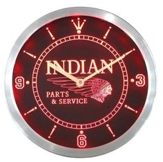 Indian Motorcycle Part And Service Sign Neon Sign Led Wall Clock 100% Guarantee