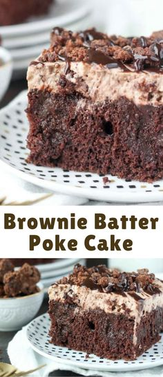 Brownie batter poke cake is a chocolate lover's dream! This decadent treat is easy to make, and is such a crowd pleaser. Brownie batter poke cake is a chocolate lover's dream! This decadent treat is easy to make, and is such a crowd pleaser. Poke Cake Recipes, Brownie Recipes, Dessert Recipes, Easy Brownie Cake Recipe, Just Desserts, Delicious Desserts, Chocolate Desserts, Chocolate Lovers, Chocolate Pudding