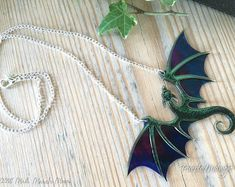 Dragon Necklace, Purple Midnight, Acrylic & Acetate transparent iridescent purple dragon with silver plated chain Dragon Horns, Dragon Birthday, Handmade Necklaces, Handmade Gifts, Hair Jewels, Dragon Necklace, Hand Pipes, Baby Dragon, Wing Earrings