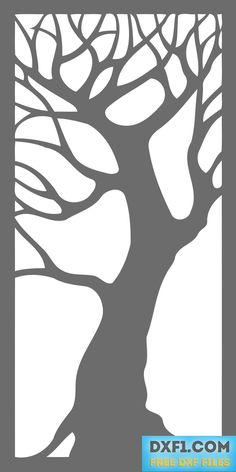 Tree - decorative panel free dxf file for plasma cutting, laser cutting, waterjet cutting, jig saw cutting stencil, milling and engraving. This dxf art file for cnc machines can be used for the production of decorative panels made of wood, plywood, MDF, plastic, aluminum, steel and other materials. Massive pattern allows to cut it not only with the help of the CNC but also manually. It has 1x2 aspect ratio. May be used as a wall art, door, gate or just a section of the fence.
