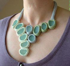 crochet seaglass bib necklace