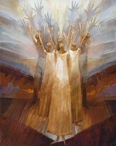 """Hear My Praise"" - Dance Painting inspired by Alvin Ailey's ballet ""Revelations"", by an award-winning artist Rochelle Blumenfeld. Ballet Painting, Dance Paintings, Worship Dance, Praise Dance, Christian Artwork, Prophetic Art, A Course In Miracles, Jesus Art, Biblical Art"