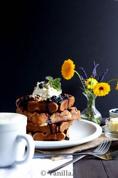 Nutty Whole Grain Waffles with Blueberry Compote via Vanilla and Bean