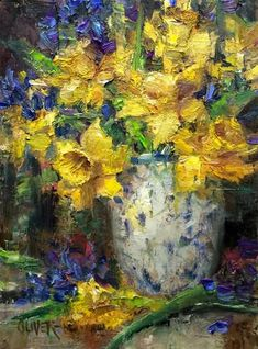 """Daily Paintworks - """"Daffodils and Hyacinth #3"""" by Julie Ford Oliver"""