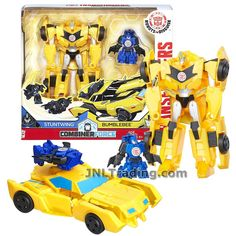 Transformers Year 2016 Robots in Disguise Combiner Force Series 5-1/2 Inch Tall Figure Activator Set - BUMBLEBEE (4 Step Changer) with STUNTWING (1 Step Changer) Transformers Collection, Year 2016, Robots, Jackson, Lego, Harry Potter, Board, Party, Robot